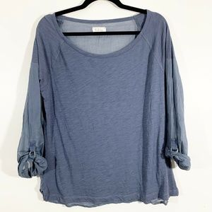 Lou & Grey Gray Long Tab Sleeve Popover Top Size L
